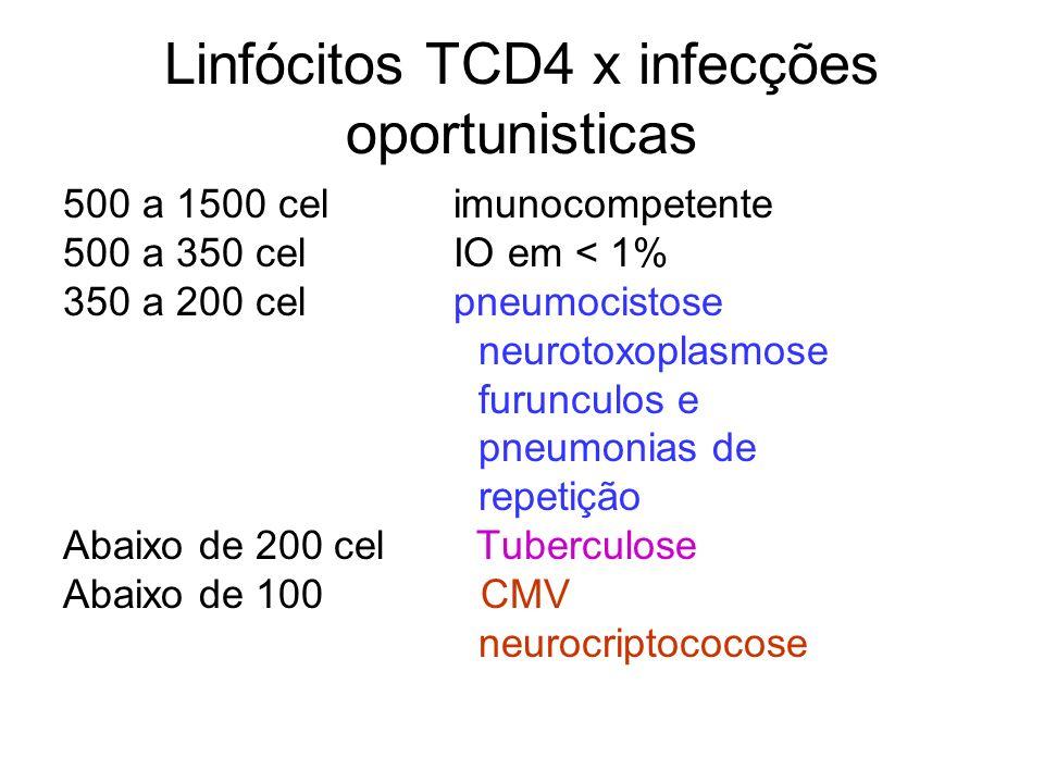 Linfócitos TCD4 x infecções oportunisticas