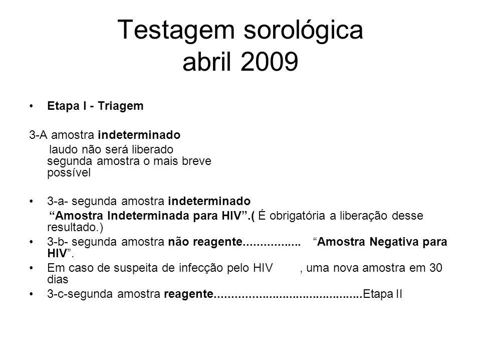 Testagem sorológica abril 2009