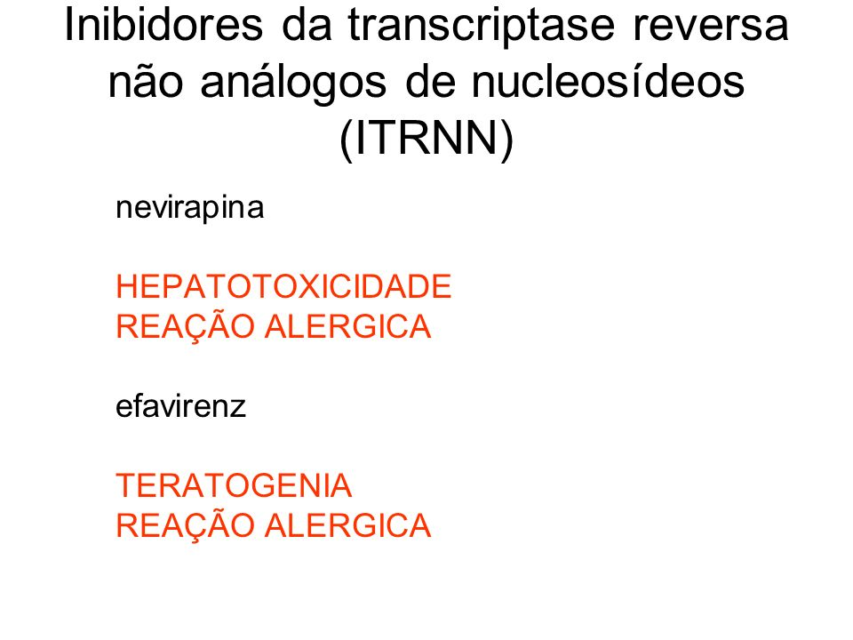 Inibidores da transcriptase reversa não análogos de nucleosídeos (ITRNN)
