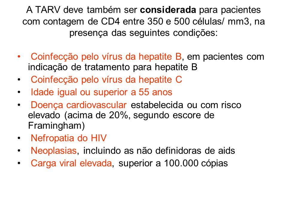 A TARV deve também ser considerada para pacientes com contagem de CD4 entre 350 e 500 células/ mm3, na presença das seguintes condições: