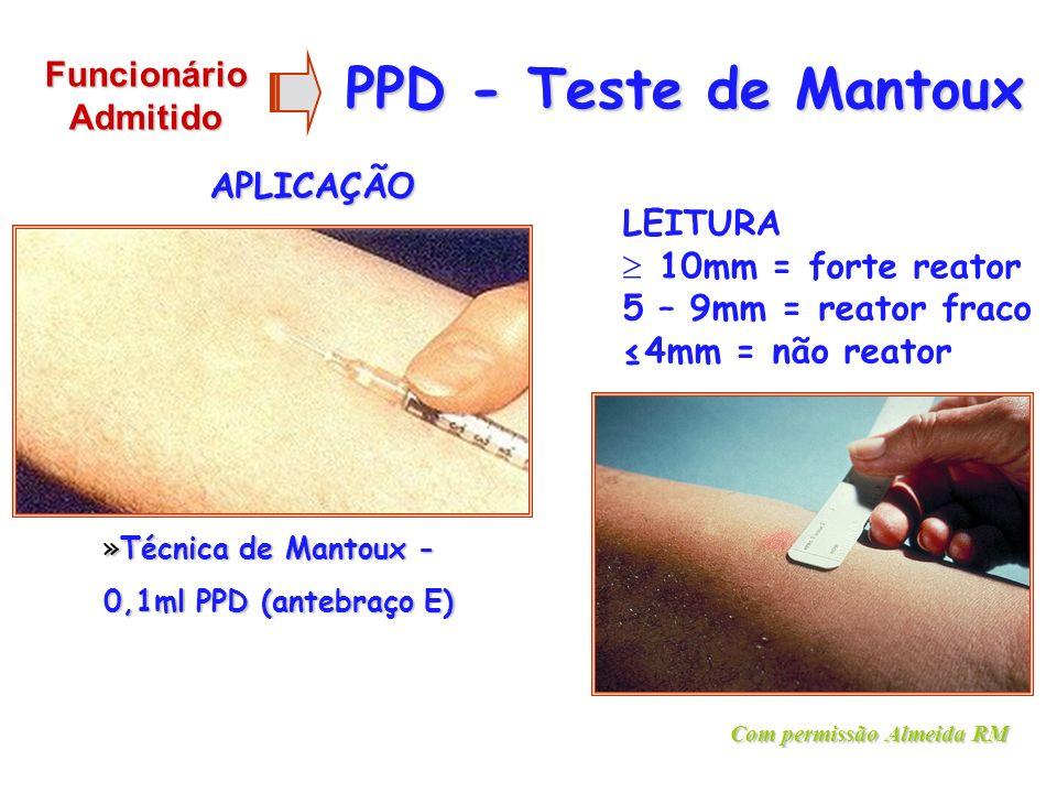 PPD - Teste de Mantoux Funcionário Admitido APLICAÇÃO LEITURA