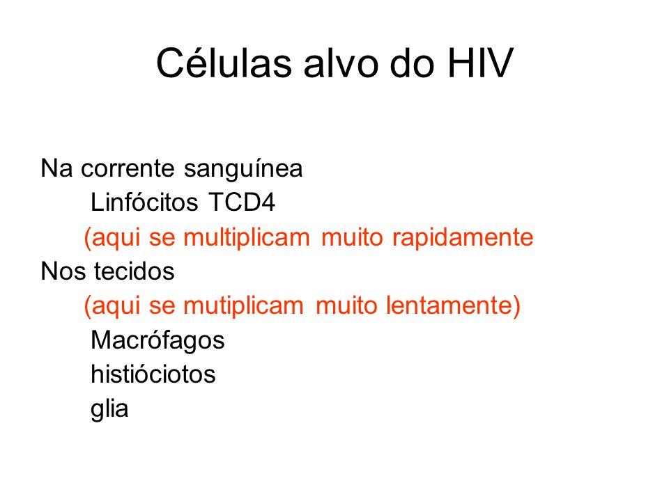 Células alvo do HIV Na corrente sanguínea Linfócitos TCD4