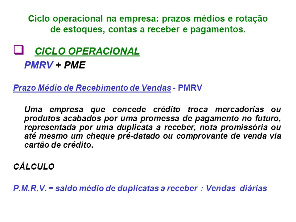 q CICLO OPERACIONAL PMRV + PME
