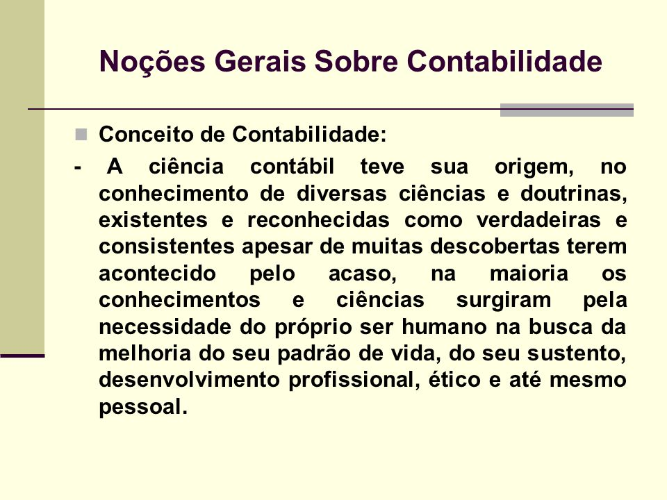 Noções Gerais Sobre Contabilidade
