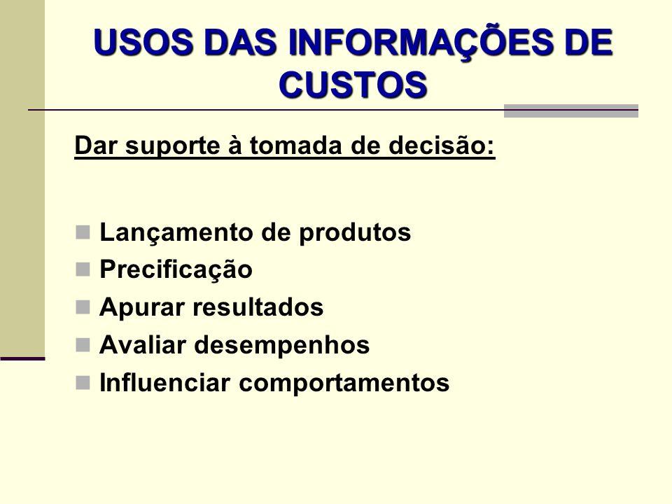 USOS DAS INFORMAÇÕES DE CUSTOS