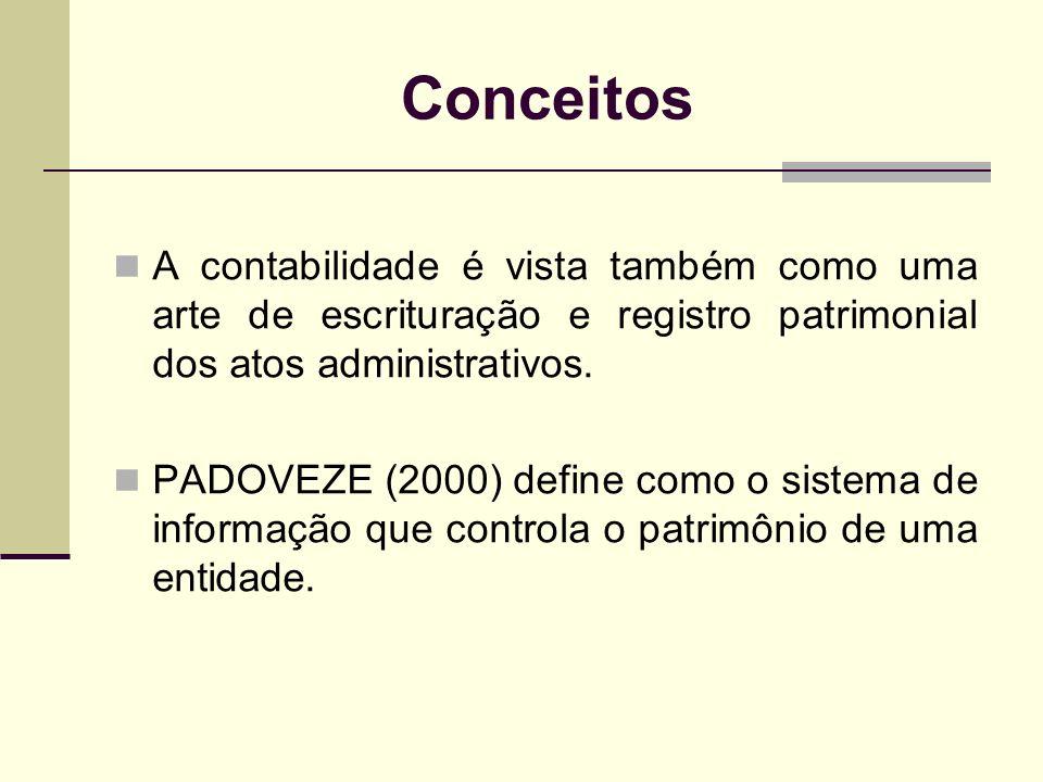 Conceitos A contabilidade é vista também como uma arte de escrituração e registro patrimonial dos atos administrativos.