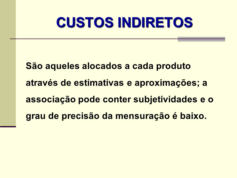 CUSTOS INDIRETOS