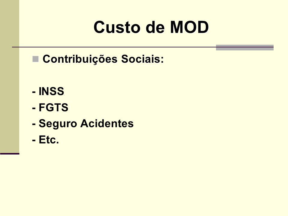 Custo de MOD Contribuições Sociais: - INSS - FGTS - Seguro Acidentes