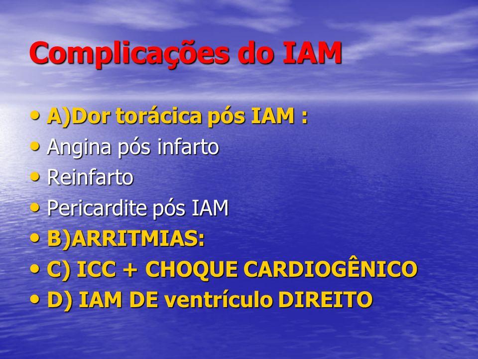 Complicações do IAM A)Dor torácica pós IAM : Angina pós infarto