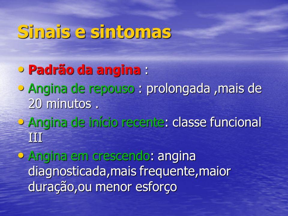 Sinais e sintomas Padrão da angina :