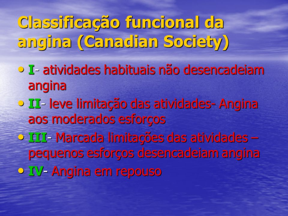 Classificação funcional da angina (Canadian Society)