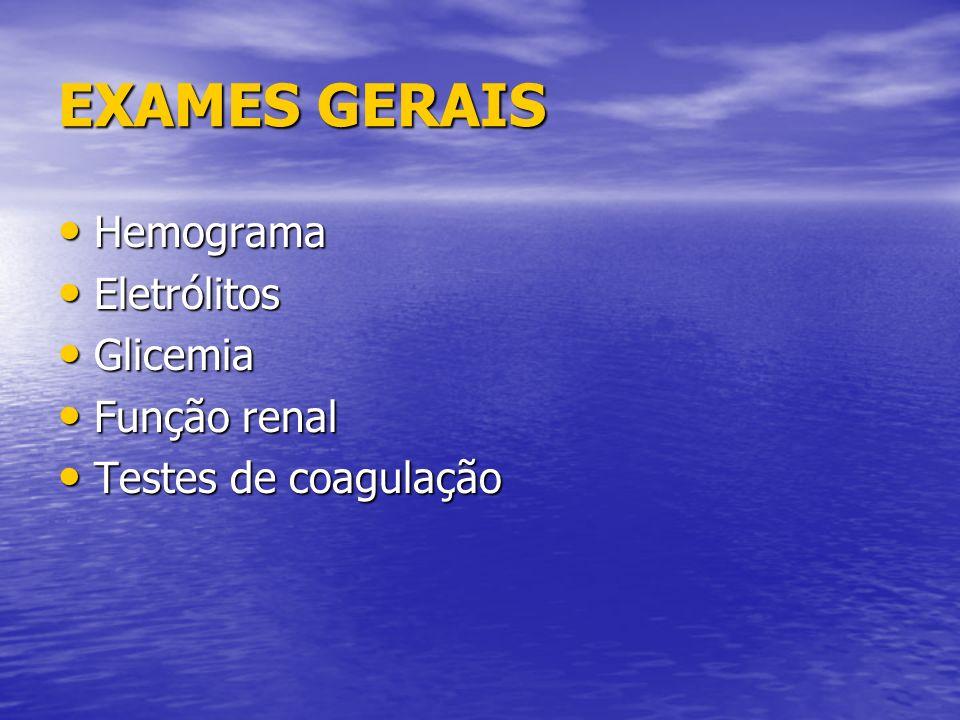 EXAMES GERAIS Hemograma Eletrólitos Glicemia Função renal
