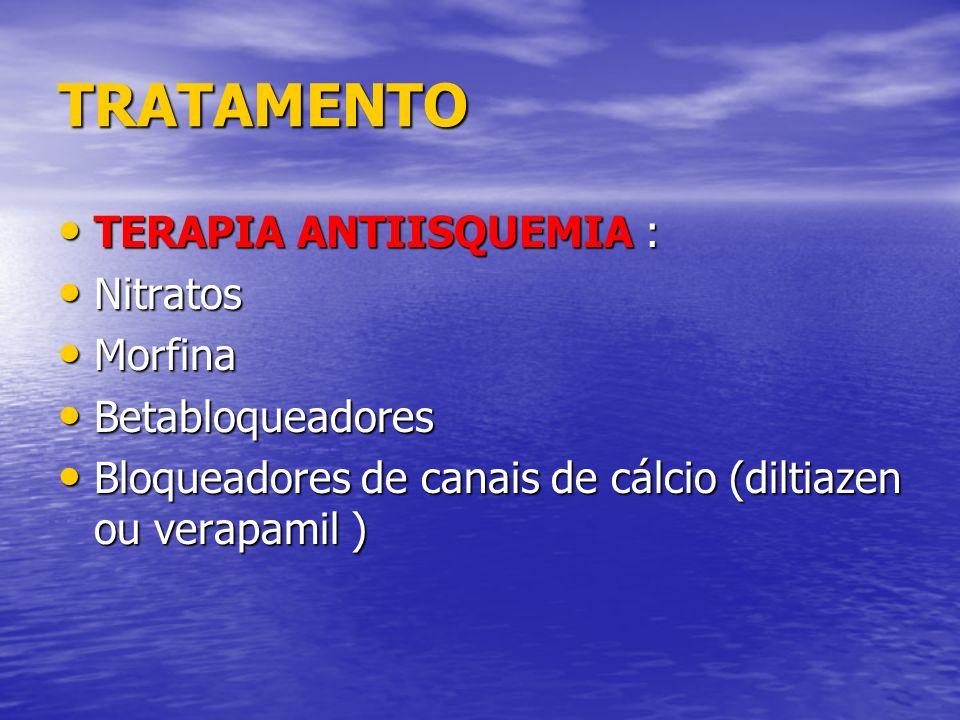 TRATAMENTO TERAPIA ANTIISQUEMIA : Nitratos Morfina Betabloqueadores
