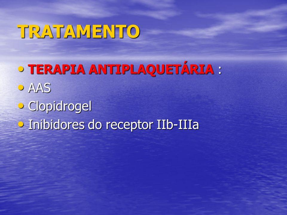 TRATAMENTO TERAPIA ANTIPLAQUETÁRIA : AAS Clopidrogel