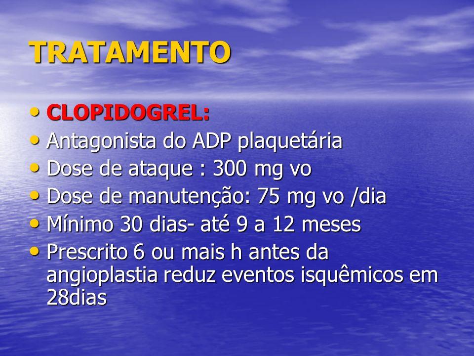 TRATAMENTO CLOPIDOGREL: Antagonista do ADP plaquetária