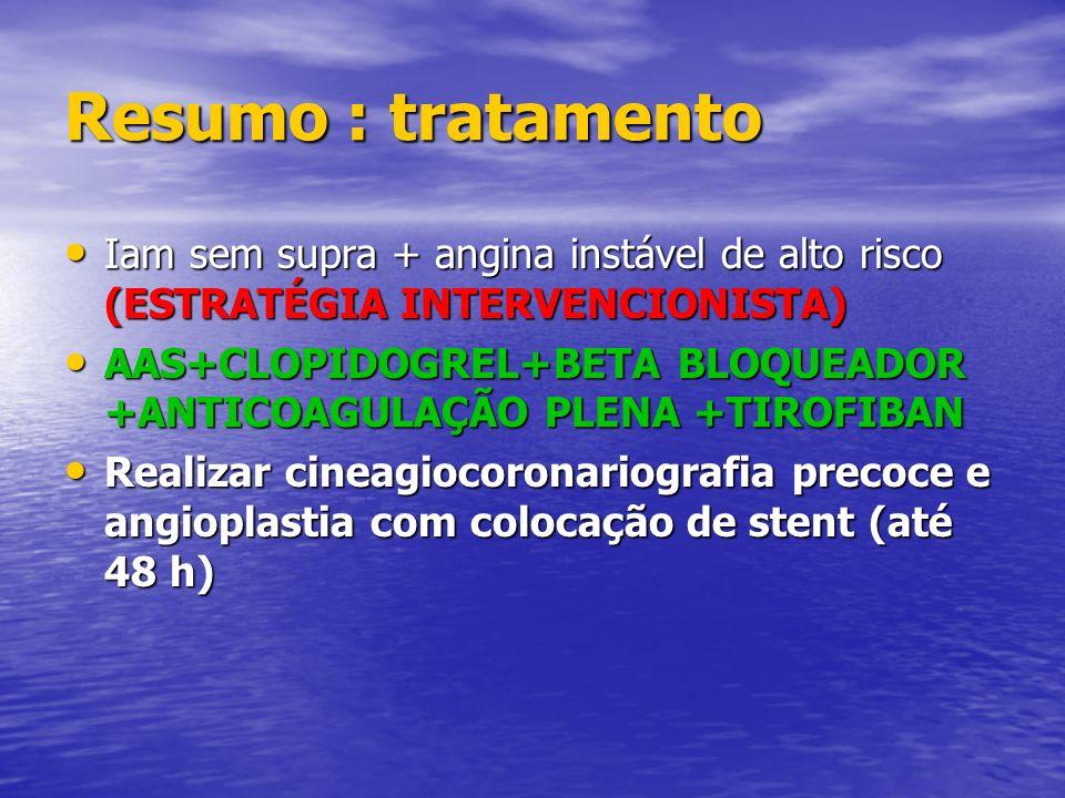 Resumo : tratamento Iam sem supra + angina instável de alto risco (ESTRATÉGIA INTERVENCIONISTA)