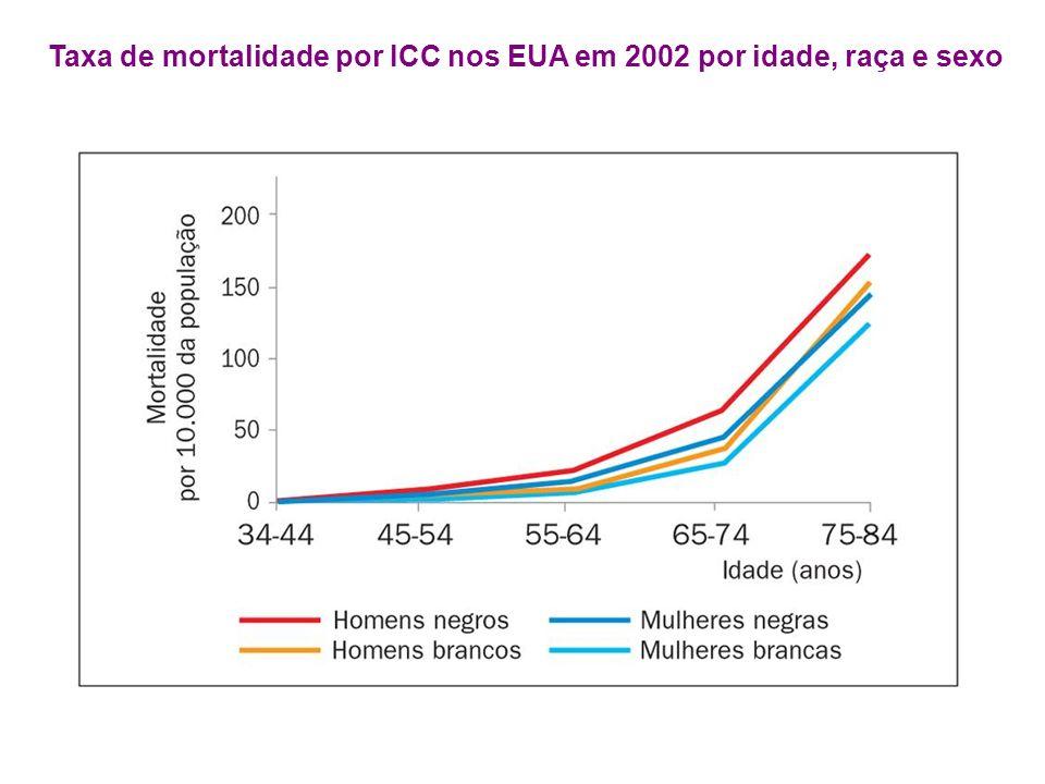 Taxa de mortalidade por ICC nos EUA em 2002 por idade, raça e sexo