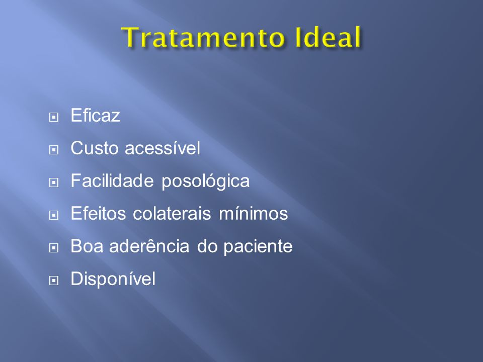 Tratamento Ideal Eficaz Custo acessível Facilidade posológica