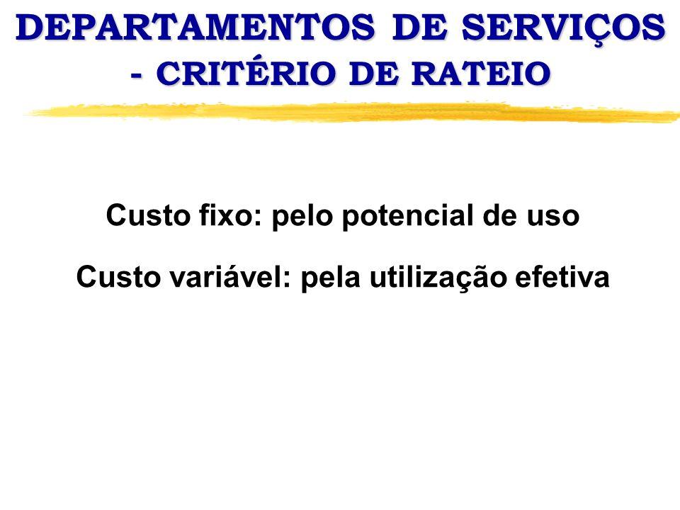 DEPARTAMENTOS DE SERVIÇOS - CRITÉRIO DE RATEIO