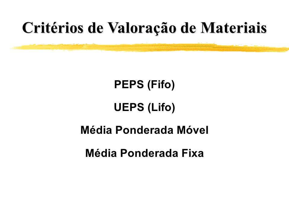 Critérios de Valoração de Materiais