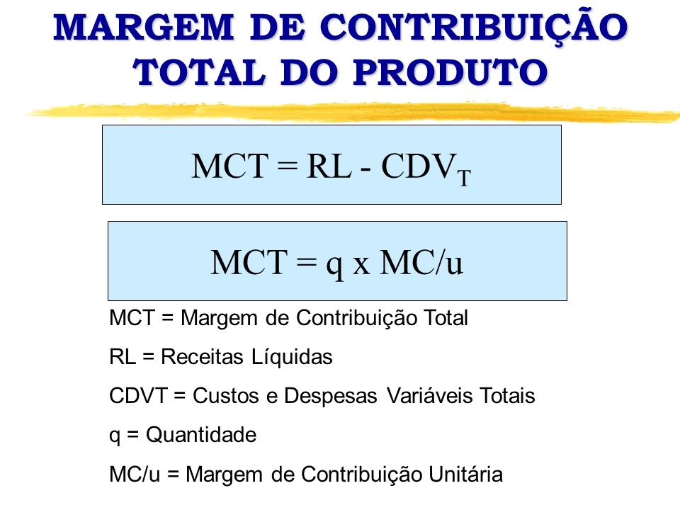 MARGEM DE CONTRIBUIÇÃO TOTAL DO PRODUTO