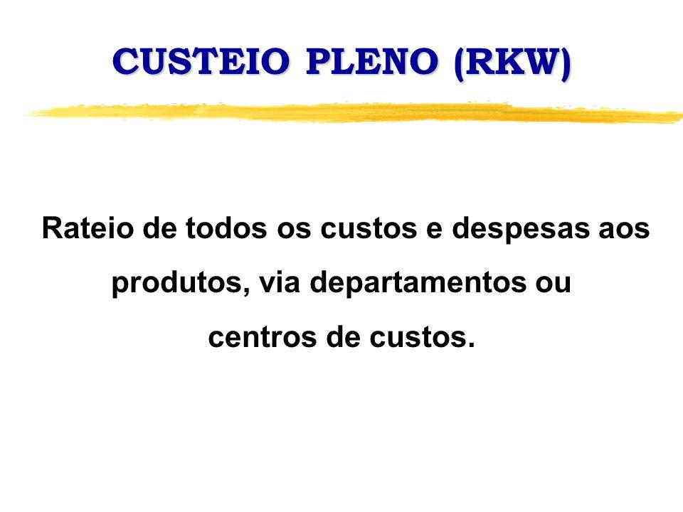 CUSTEIO PLENO (RKW) Rateio de todos os custos e despesas aos produtos, via departamentos ou. centros de custos.