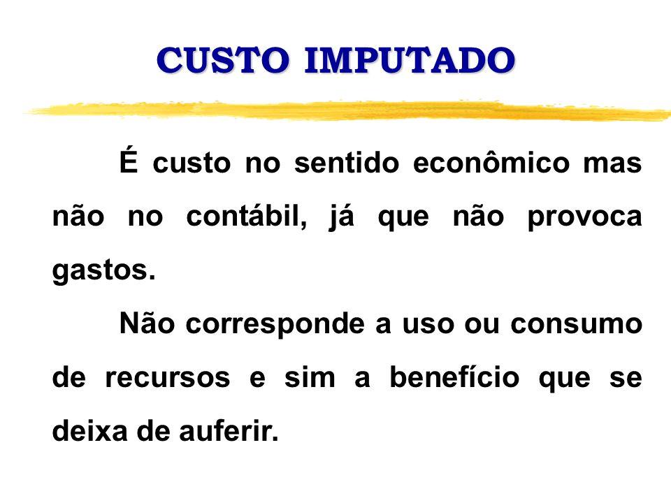 CUSTO IMPUTADO É custo no sentido econômico mas não no contábil, já que não provoca gastos.