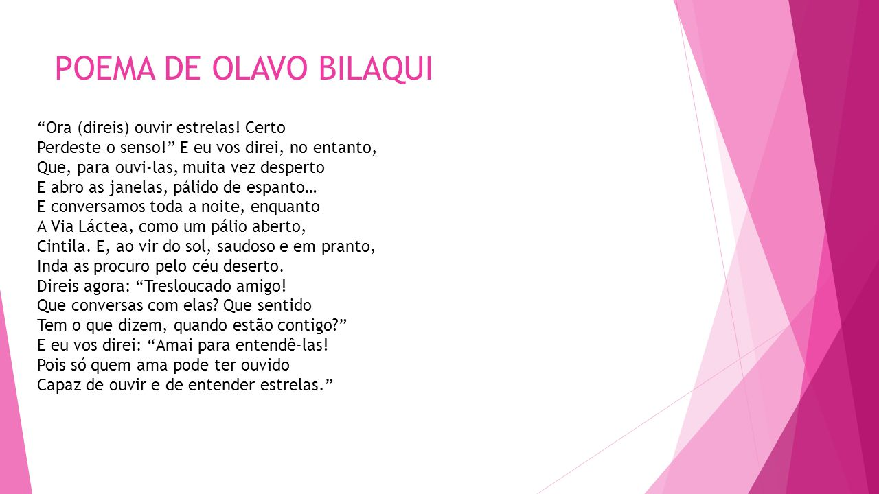 POEMA DE OLAVO BILAQUI