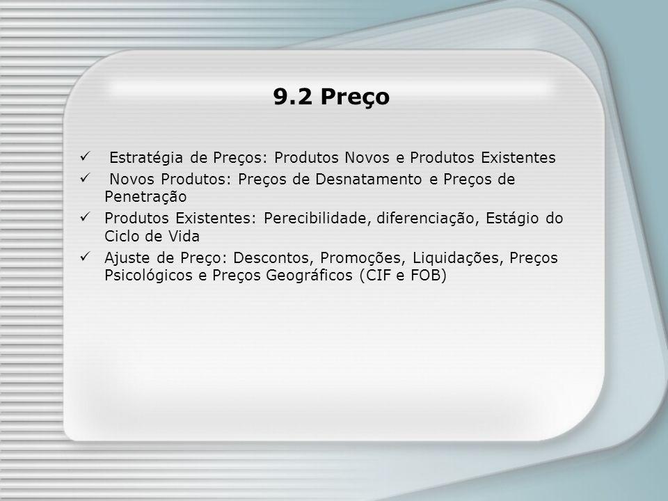 9.2 Preço Estratégia de Preços: Produtos Novos e Produtos Existentes