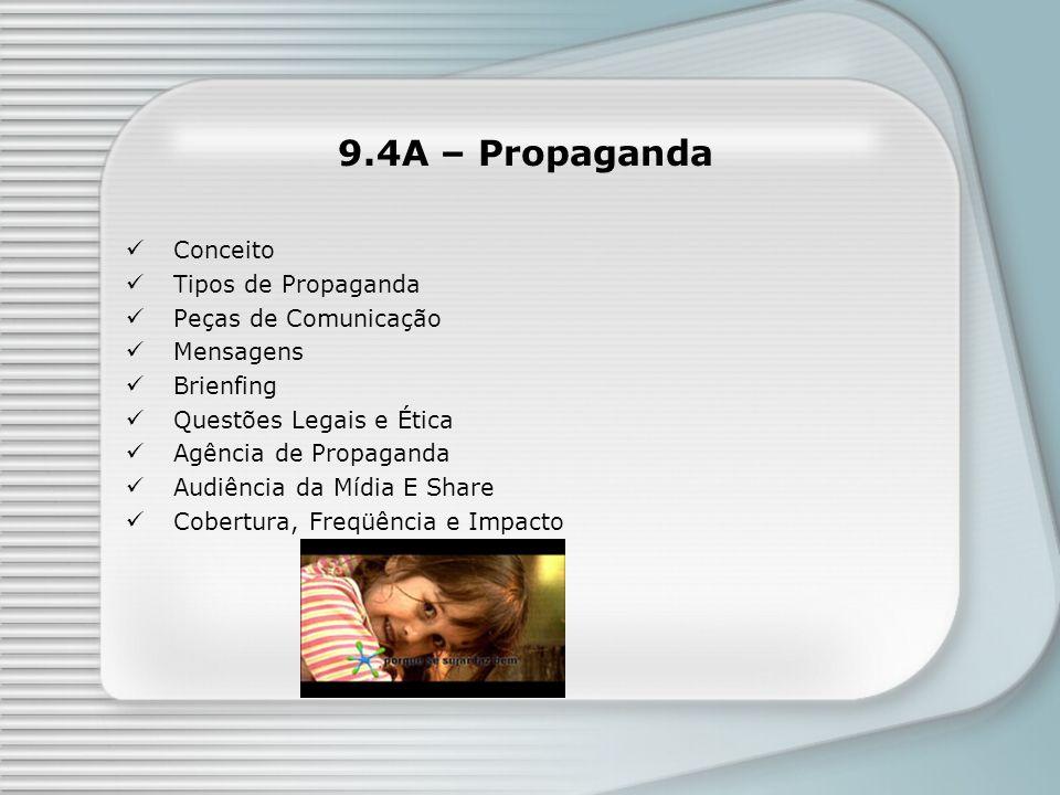 9.4A – Propaganda Conceito Tipos de Propaganda Peças de Comunicação