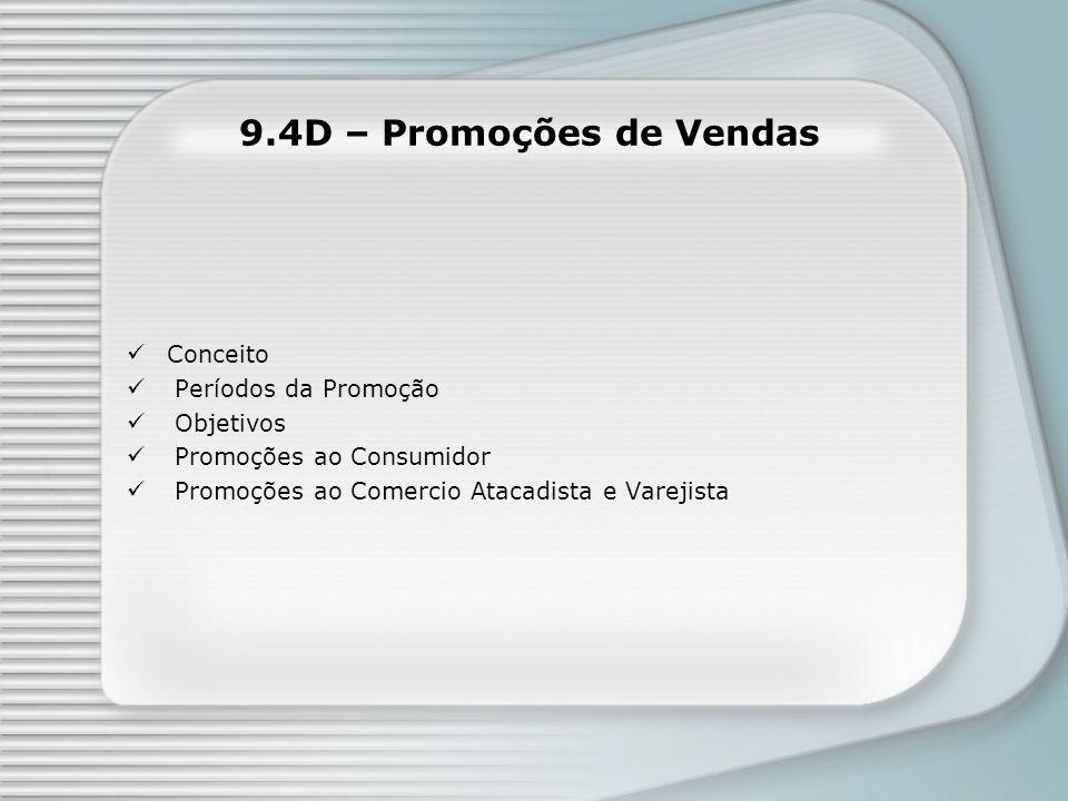 9.4D – Promoções de Vendas Conceito Períodos da Promoção Objetivos