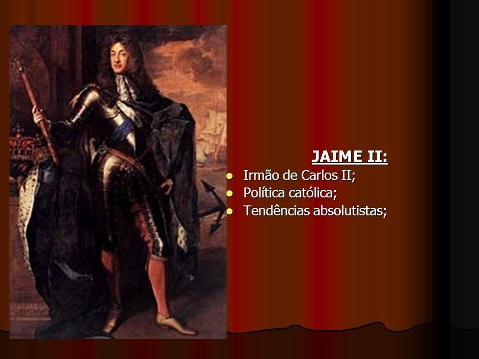 JAIME II: Irmão de Carlos II; Política católica;