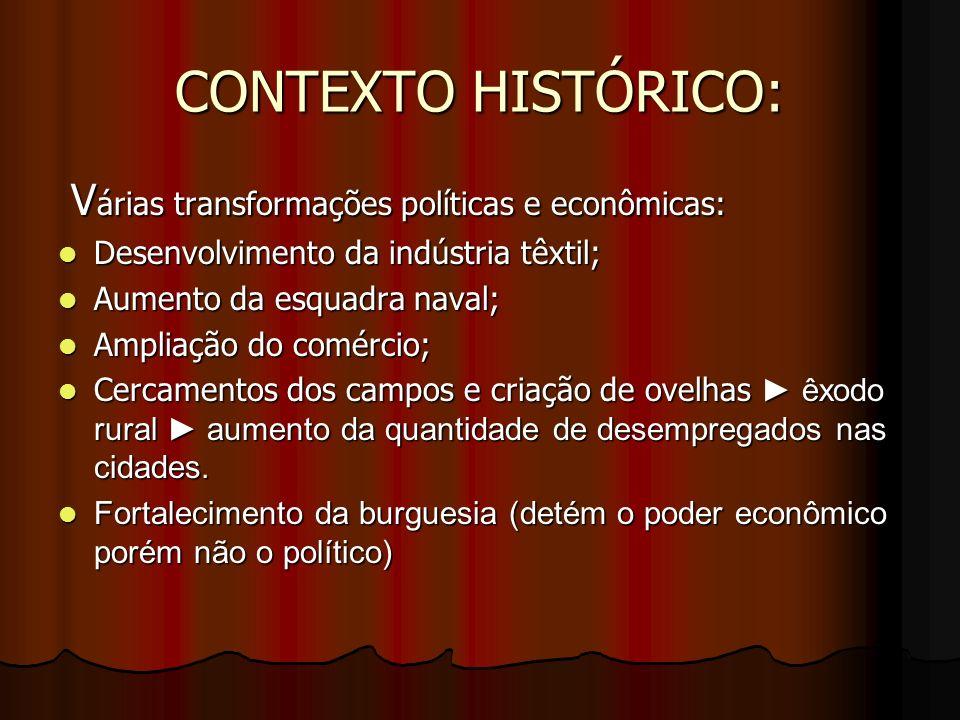 CONTEXTO HISTÓRICO: Várias transformações políticas e econômicas: