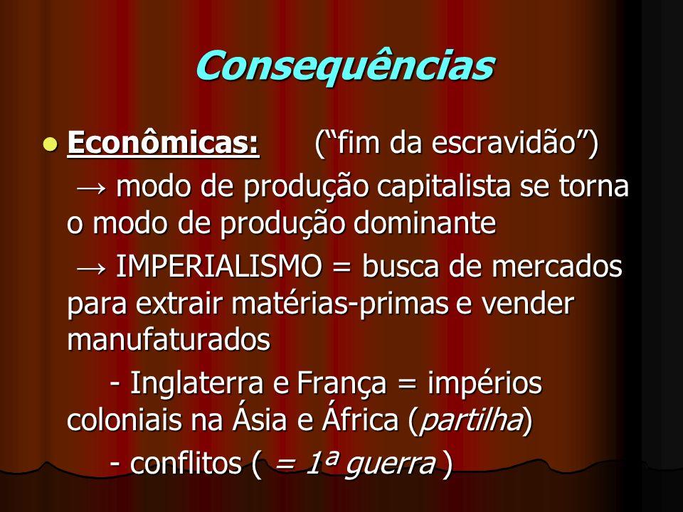 Consequências Econômicas: ( fim da escravidão )