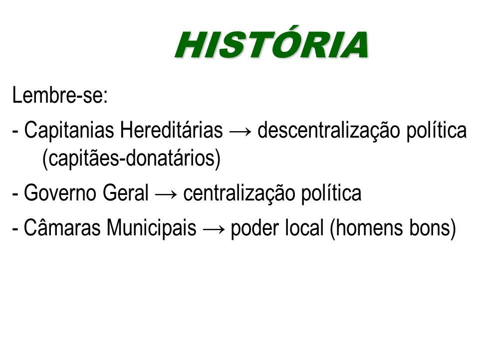 HISTÓRIA Lembre-se: - Capitanias Hereditárias → descentralização política (capitães-donatários) - Governo Geral → centralização política.