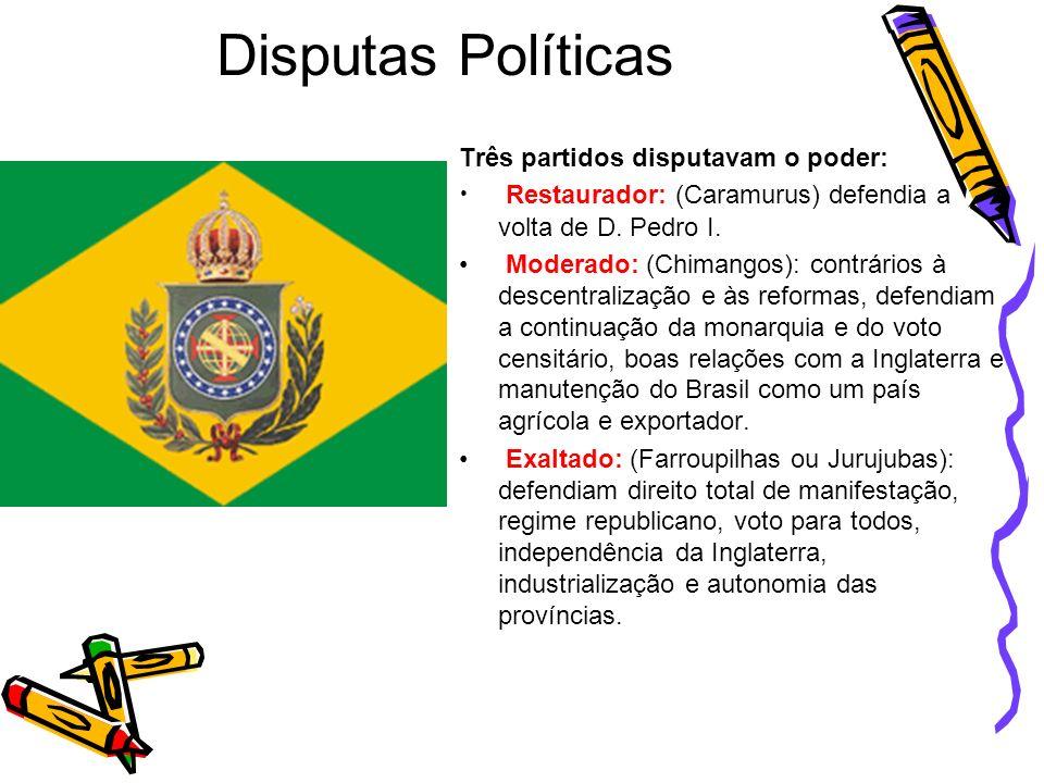 Disputas Políticas Três partidos disputavam o poder: