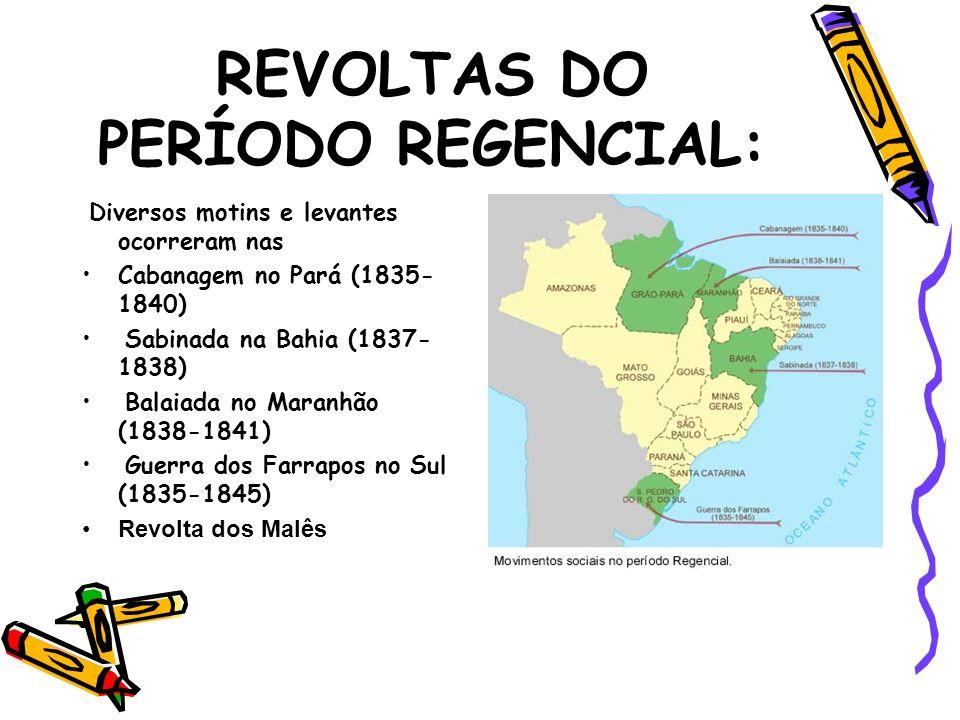 REVOLTAS DO PERÍODO REGENCIAL: