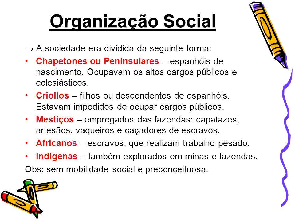 Organização Social → A sociedade era dividida da seguinte forma: