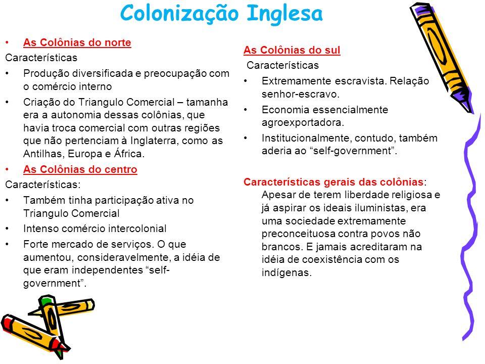 Colonização Inglesa As Colônias do norte Características