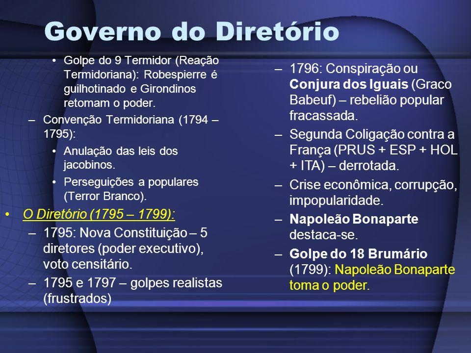 Governo do DiretórioGolpe do 9 Termidor (Reação Termidoriana): Robespierre é guilhotinado e Girondinos retomam o poder.
