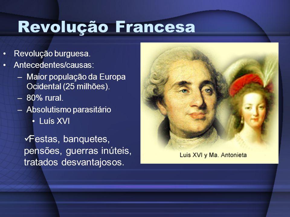 Revolução FrancesaRevolução burguesa. Antecedentes/causas: Maior população da Europa Ocidental (25 milhões).