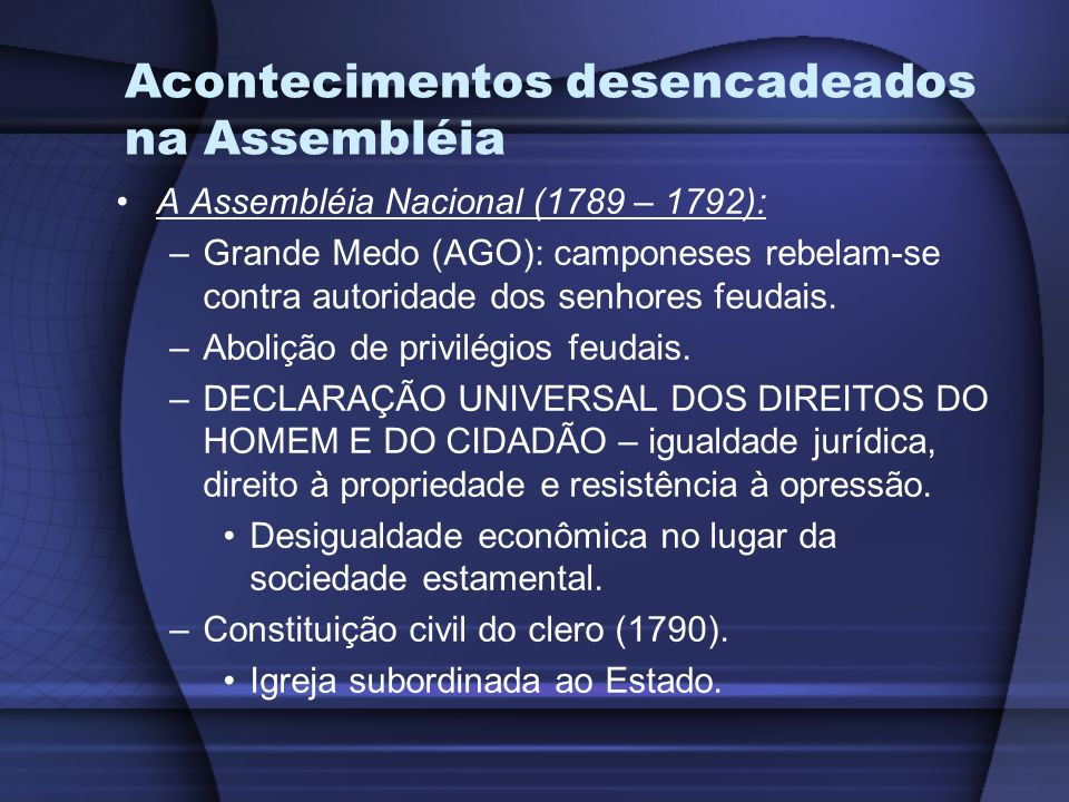 Acontecimentos desencadeados na Assembléia