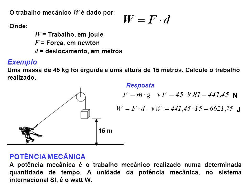 Exemplo N J POTÊNCIA MECÂNICA O trabalho mecânico W é dado por: Onde: