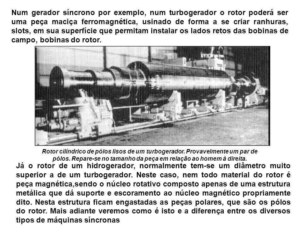 Num gerador síncrono por exemplo, num turbogerador o rotor poderá ser uma peça maciça ferromagnética, usinado de forma a se criar ranhuras, slots, em sua superfície que permitam instalar os lados retos das bobinas de campo, bobinas do rotor.