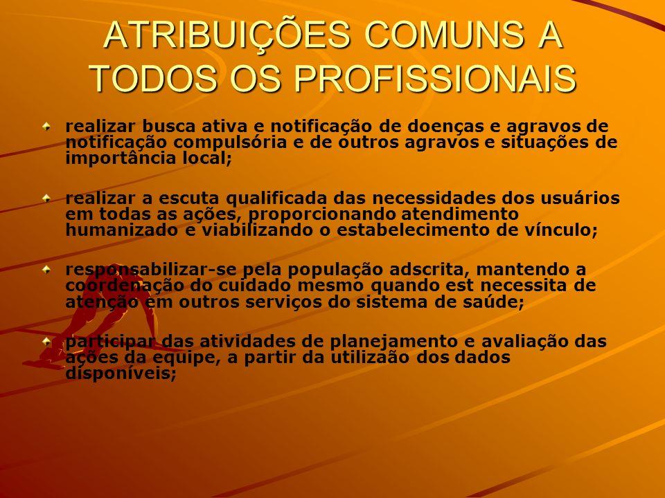 ATRIBUIÇÕES COMUNS A TODOS OS PROFISSIONAIS