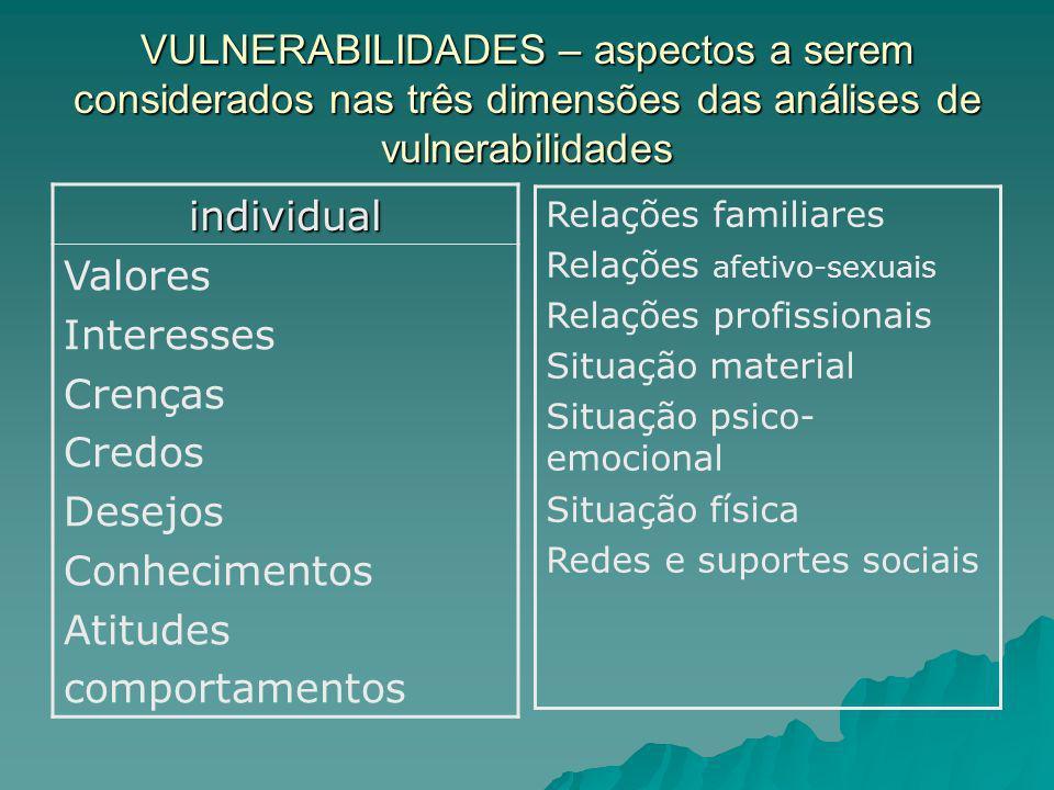 VULNERABILIDADES – aspectos a serem considerados nas três dimensões das análises de vulnerabilidades