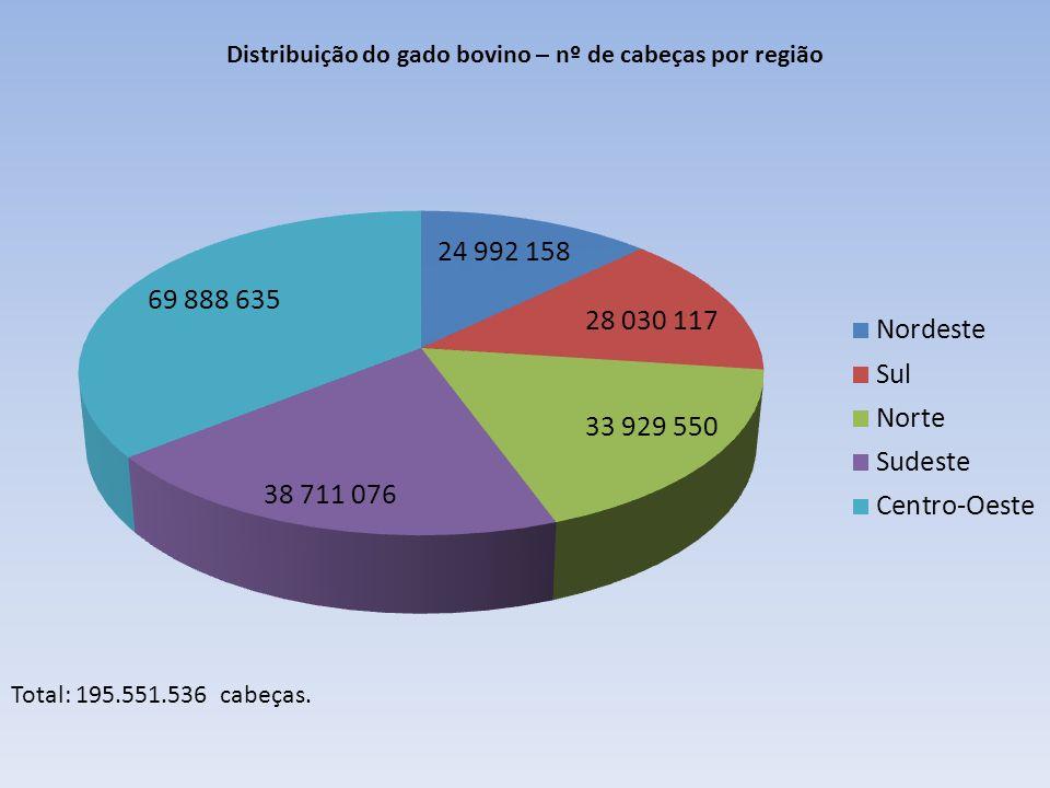 Distribuição do gado bovino – nº de cabeças por região