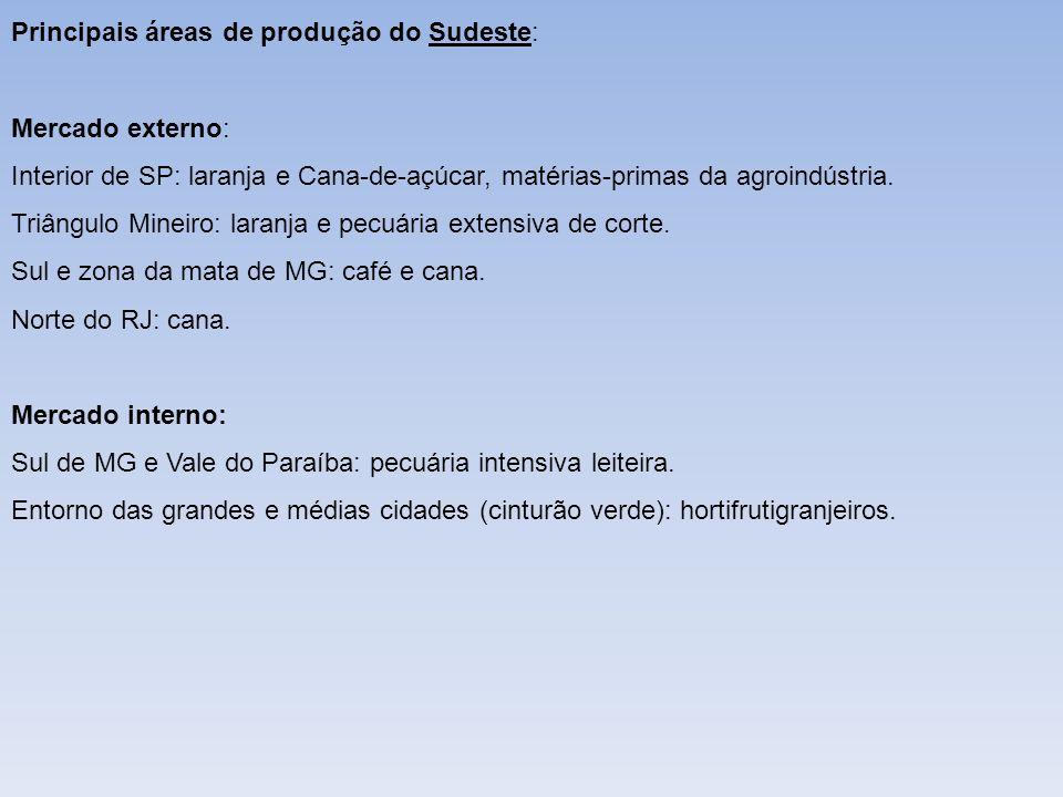 Principais áreas de produção do Sudeste: