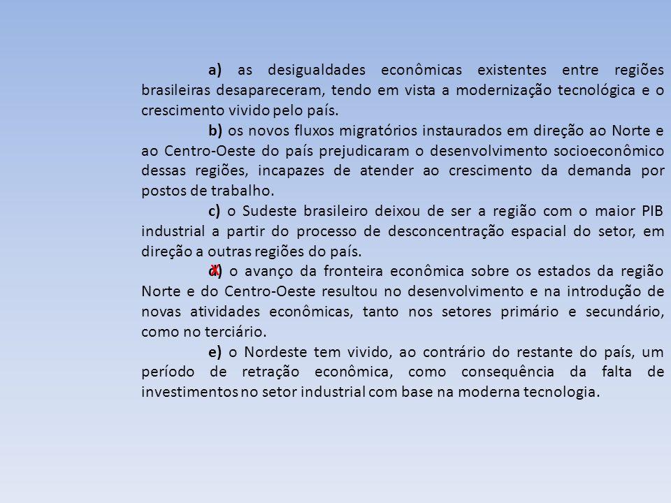 a) as desigualdades econômicas existentes entre regiões brasileiras desapareceram, tendo em vista a modernização tecnológica e o crescimento vivido pelo país.