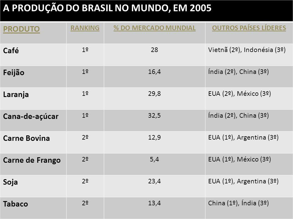 A PRODUÇÃO DO BRASIL NO MUNDO, EM 2005